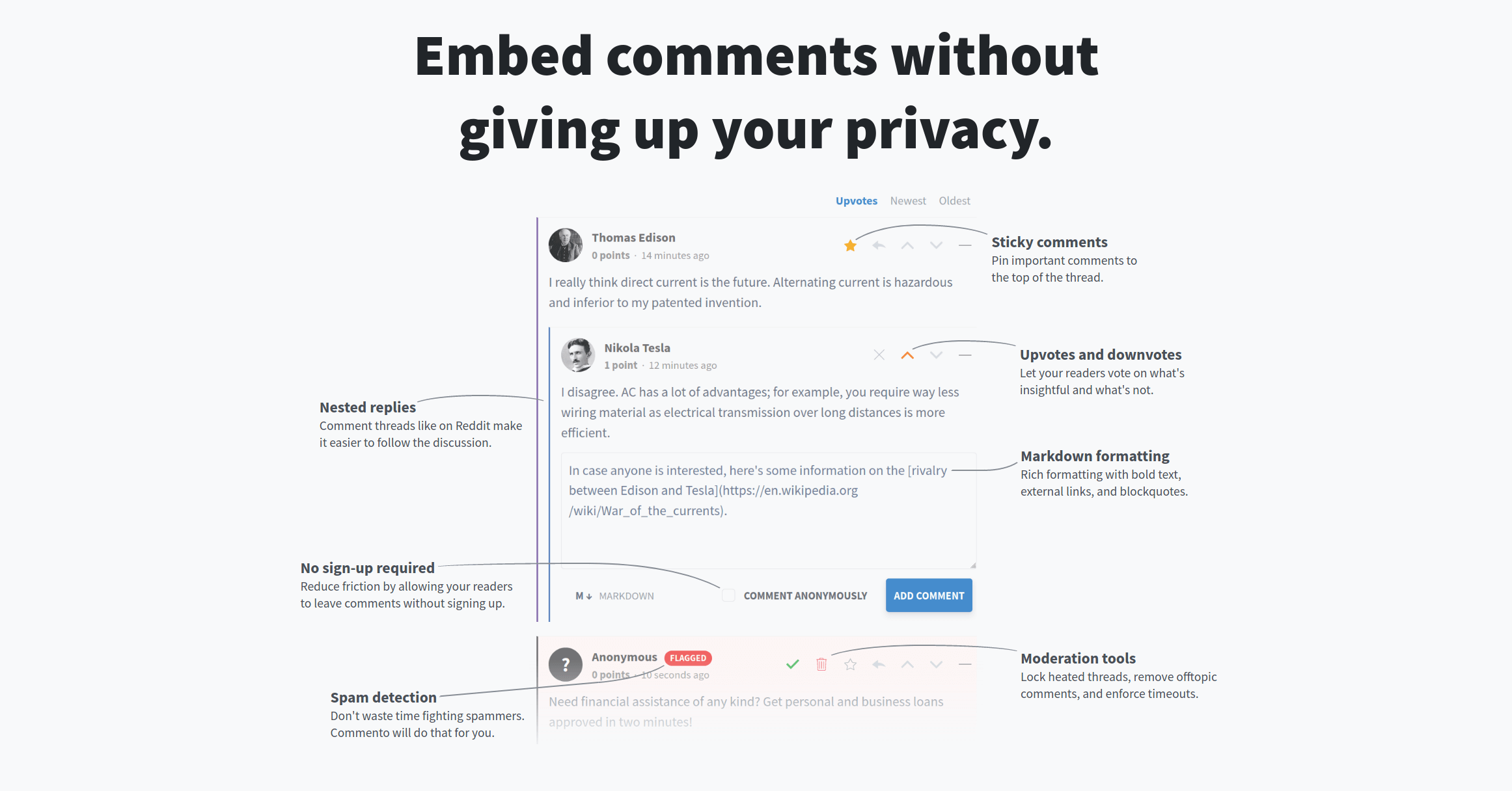 Commento: A fast, privacy-focused commenting platform